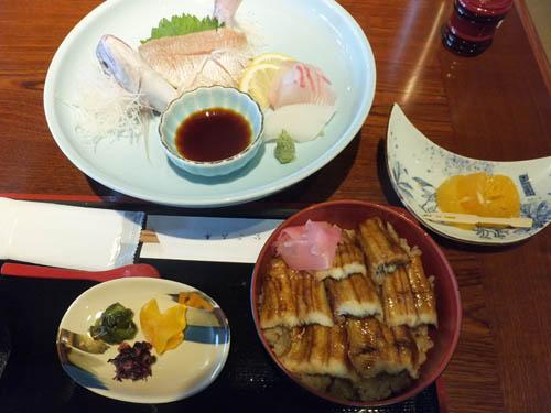 鯛のお造りとアナゴ飯